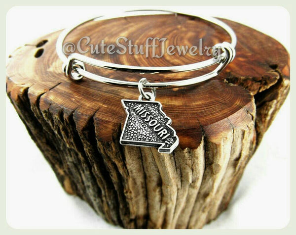 Missouri state bracelet, state of Missouri bangle, Handmade MO bracelet, MO bangle, Missouri jewelry, Missouri bracelet, MO jewelry