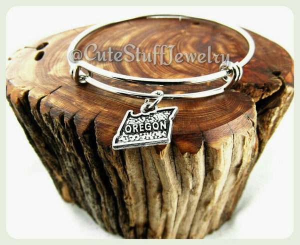 Oregon state bracelet, state of Oregon bangle, OR bracelet, OR bangle, handmade Oregon jewelry, Oregon bracelet, OR jewelry gift