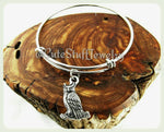 Horned Owl Bangle, Owl Bracelet, Handmade Owl Jewelry, Owls Bracelet, Hoot Owls Bangle, Owl Gift, Owls Jewelry