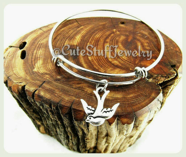 Handmade Sparrow Bracelet, Sparrow Bangle, Silver Sparrow Jewelry, Bird Bangle, Bird Bracelet, Boho, Pinup, Bird Jewelry