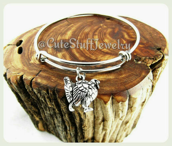 Thanksgiving Turkey Bracelet, Happy Thanksgiving Turkey Bangle, Turkey Day Jewelry, Holiday Bracelet, Handmade Holiday Jewelry, November