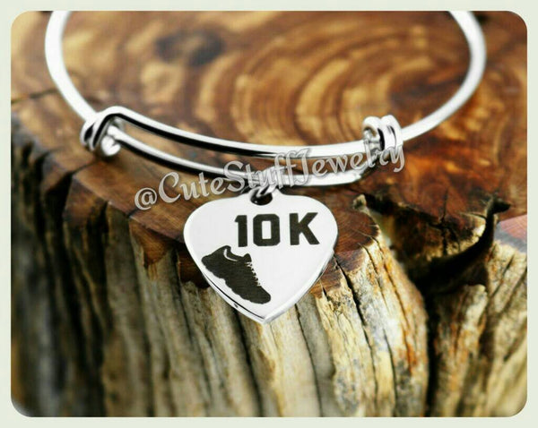 10k Run Bracelet, 10k Run Bangle, Handmade Runner Jewelry, Runners Bracelet Gift, 10k Marathon Runner, 10k Bracelet, 10k Bangle, 10k Gift