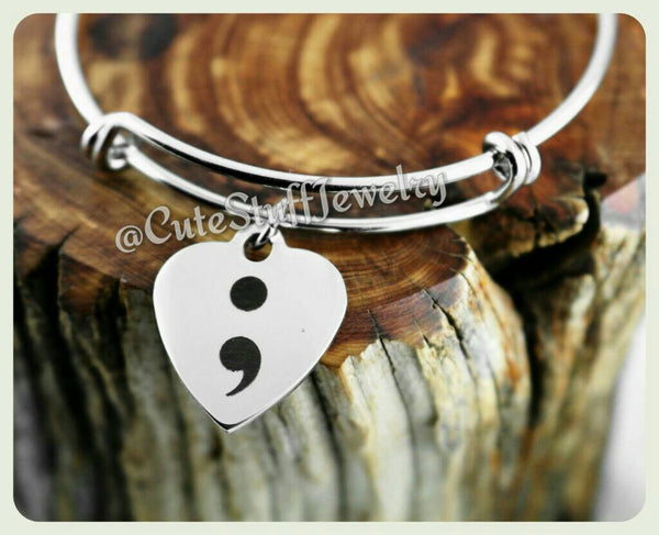 Semicolon Heart Bracelet, Semicolon Heart Bangle, Handmade Inspirational Jewelry, Semicolon Jewelry,  Mental Illness Survivor, Never give up