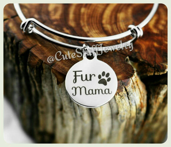 Fur Mama Bracelet, Fur Mama Bangle, Handmade Pet Jewelry, Dog Bracelet, Cat Bracelet, Pet Bracelet, Pet Bangle, Pawprints, Rescue Mama