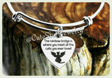 Rainbow Bridge Cat bangle, Rainbowbridge is where you meet all the cats you ever loved bracelet, Handmade Angel Cat bangle, Pet Memorial