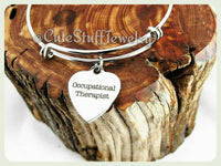 occupational therapist bracelet, O therapist bangle, handmade occupational therapist jewelry, OT bracelet, OT bangle, OT jewelry, therapy