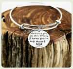 God has you in his arms I have you in my heart  Bracelet, I have you in my heart Bangle, Handmade Memorial Jewelry, Family Remeberance