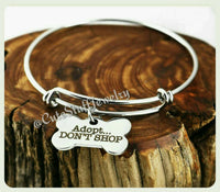 Adopt Don't Shop Bracelet, Dog Adopt Bangle, Handmade Animal Rescue Jewelry, Dog Adoption Jewelry, Rescue Bracelet, Dog Rescue Bangle