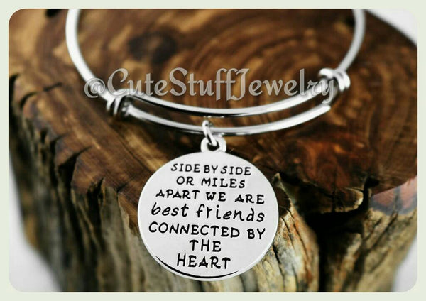 Side by side or miles apart we are best friends connected by the heart Bracelet, Best Friends Bangle, Handmade Best Friends Jewelry, BFF