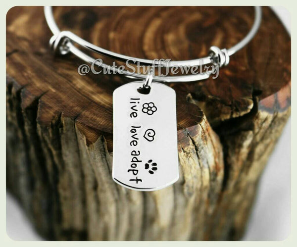 Live Love Adopt Bracelet, Live Love Adopt Bangle, Handmade Animal Rescue Jewelry, Live Love Adopt Jewelry, Rescue Bracelet, Rescue Bangle