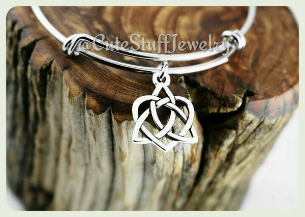 Celtic Knot Heart Bracelet, Celtic Knot Bangle, Celtic Knot Jewelry, Irish Knot Bracelet, Irish Bracelet, Celtic Irish Wedding, Bridesmaids