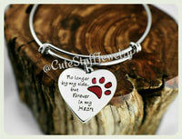 No Longer by my side but Forever in my heart bracelet, Forever in my heart bangle, Handmade Pet memorial jewelry Memory, Rainbow Bridge