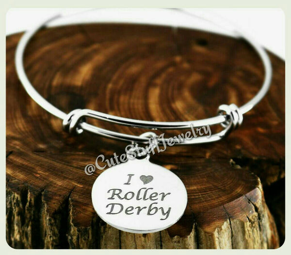 I Love Roller Derby Bracelet, I Love Derby Bangle