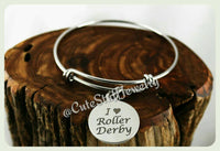 I Love Roller Derby Bracelet, I Love Derby Bangle, Roller Derby Team, Handmade Roller Derby Jewelry, Rollergirls Bangle, Rollergirls Jewelry