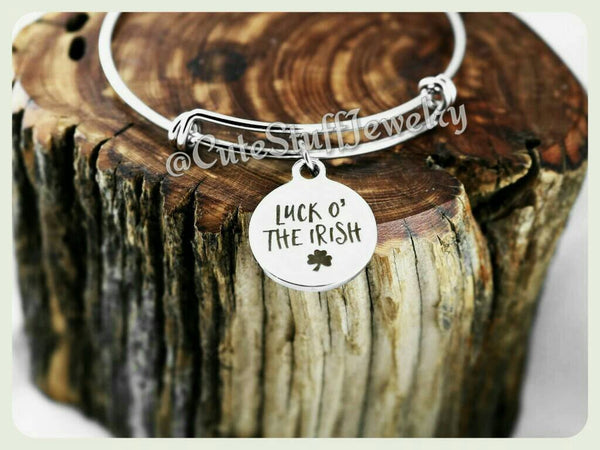 Luck of the Irish Bracelet, St Pattys Day, Four Leaf Clover Bracelet, Shamrock Bangle, Lucky Shamrock Bracelet, Handmade Lucky Bracelet