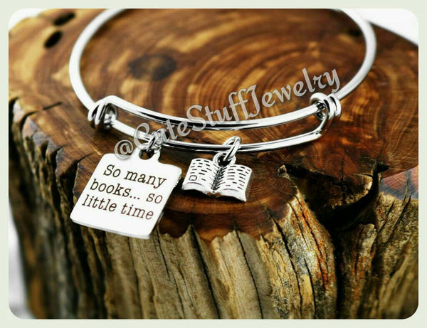 So many books so little time Bracelet, Book Bangle, Handmade Book Lover Jewelry, Gift for the Girls, Book Lady, Book Lover, Book Club Gift