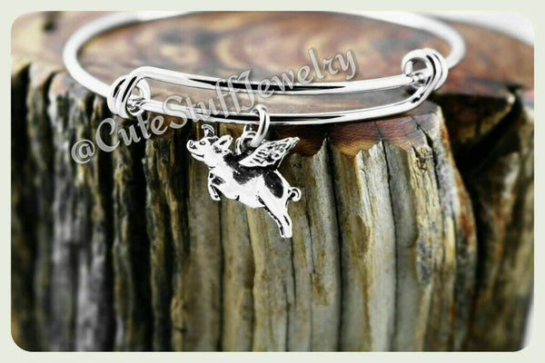 Flying Pig Bracelet, Pig Bangle