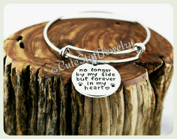 Forever in my heart bracelet, Forever in my heart bangle, No longer by my side but forever in my heart, Handmade Pet memorial jewelry Memory
