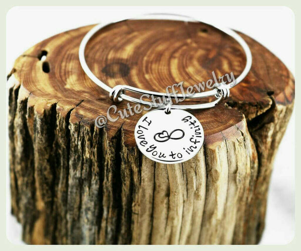 I Love You To Infinity Bracelet, I Love You To Infinity Bangle, Handmade Love Jewelry, Antique Silver Love Bracelet, Love Bangle Gift