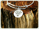I Love you to the beach and back Bracelet, Love you to the beach & back bangle, I Love You Bangle, Handmade Love Jewelry, Love You Bracelet