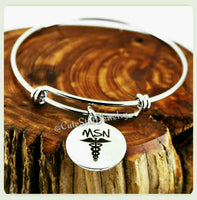 Master of Science Nursing Bracelet, Master of Science Nursing Bangle, Handmade Nursing Bracelet, Nurses Bracelet, MSN Bracelet Gift
