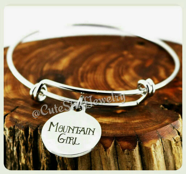 Mountain Girl Bracelet, Mountain Girl Bangle, Handmade Mountain Girl Jewelry, Mountain Girl Gift, Hiker Girl, Hiker Gift