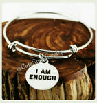 I am Enough Bracelet, I am Enough Bangle, Inspirational Bracelet, Handmade Inspirational Jewelry, Love yourself Jewelry