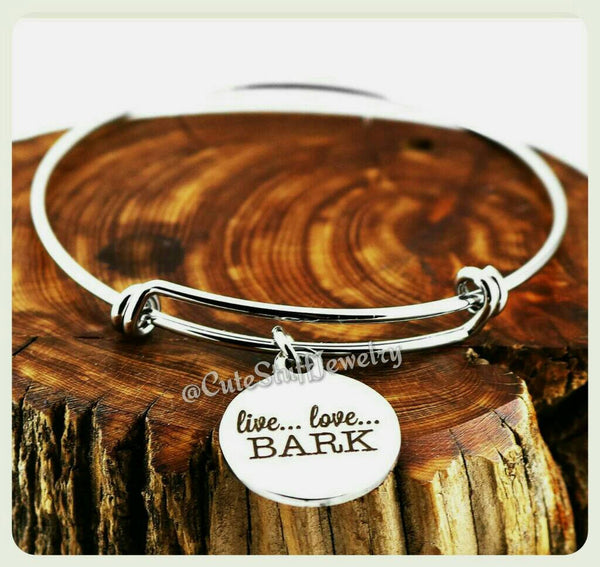 Live Love Bark Bracelet, Live Love Bark Bangle, Puppy Dog Bracelet, Handmade Dog Jewelry, Dog Bangle, Dog Bracelet, Dogs, Dog Lover, Puppies