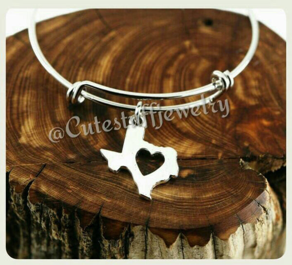 I Love Texas Bracelet, State of Texas Bangle, Handmade Texas Jewelry, TX Bangle, TX Bracelet, Texan, Texas Girl, Lone star State