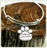 You left paw prints on my heart Bracelet, Paw prints on my heart Bangle, Handmade Pet Jewelry, Dog Bracelet, Dog Bangle, Cat Bracelet, Paws