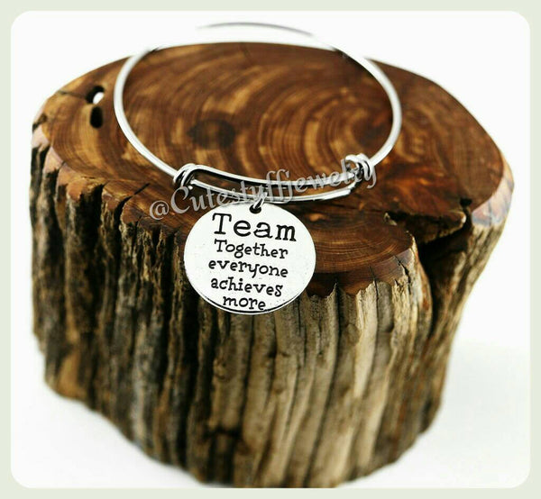 I Love My Team Bracelet, I Love My Team Bangle, Handmade Team Jewelry, I Heart My Team Bracelet, Cheerleader Bracelet, Dancer Bracelet