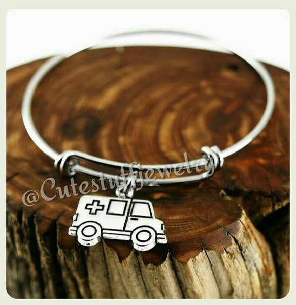 Ambulance Bracelet, Ambulance Bangle, Handmade Ambulance Jewelry, EMT Jewelry, EMT Bracelet, EMT Bangle, Emt gift, Ambulance gift