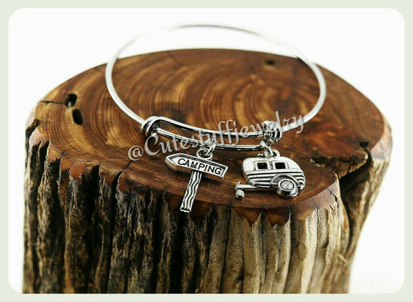 Camper Bracelet, Camper Bangle, RV Bracelet, RV Bangle, Trailer Bracelet, Trailer Bangle, Camp Fire Nature Camper Bracelet, Winnebago