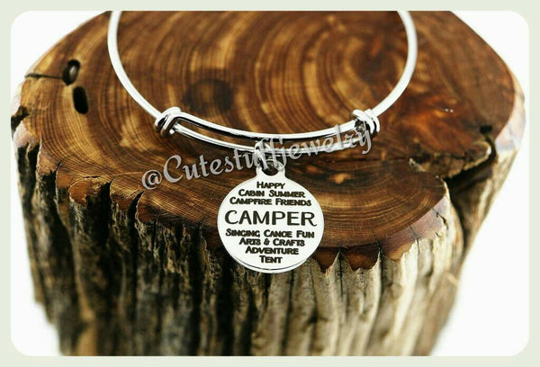 Summer Camper Bracelet, Camper Bangle, Summer Camp Bracelet, Summer Camp Bangle, Handmade Camper Jewelry, Camper Gift