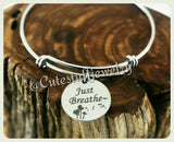 Just Breathe Bracelet, Just Breathe Bangle, Handmade Inspirational Jewelry, Just Breathe Jewelry, Anxiety Awareness, Dandelion Bracelet Gift