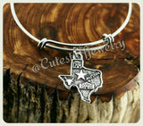 Texas Girl Bracelet, Texan Bracelet, State of Texas Bracelet, State of Texas Bangle, Handmade TX Bracelet, TX Bangle, Handmade Texas Jewelry