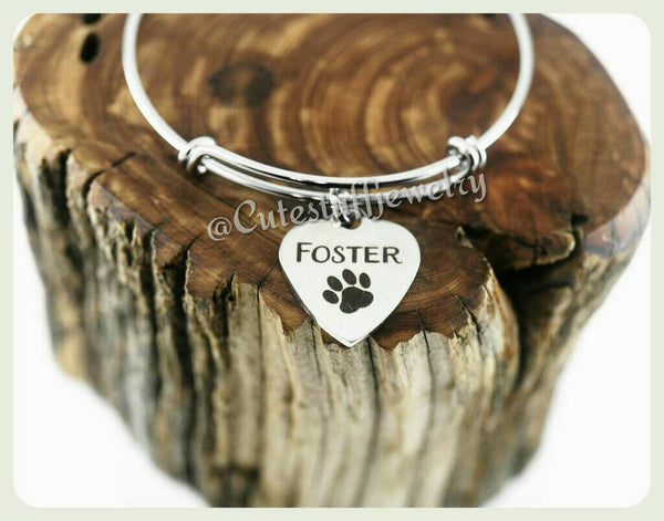 Foster Bracelet, Foster Bangle, Handmade Pet Foster Jewelry, Dog Bracelet, Cat Bracelet, Foster Rescue, Foster Mama, Foster Animals