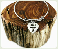 RRT Bracelet, RRT Bangle, Handmade RRT Jewelry Gift, Registered Respiratory Therapist Bracelet, Rapid Response Team gift, Technician