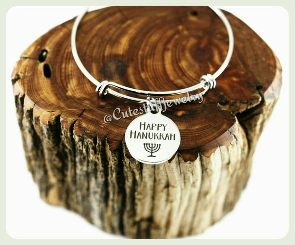 Happy Hanukkah Bracelet, Happy Hanukkah Bangle