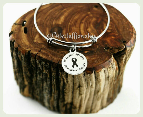 Pancreatic Cancer Bangle, In loving memory Pancreatic Cancer Bracelet, Pancreatic Cancer Awareness, Handmade Pancreatic Cancer Jewelry