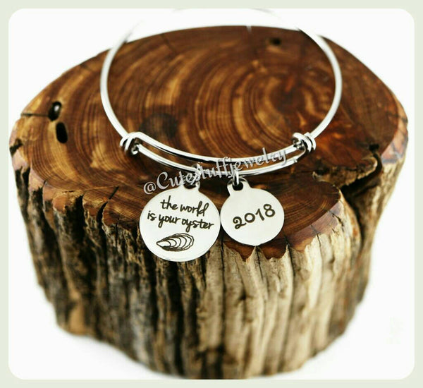 World is your oyster Bracelet, The Word is your oyster Bangle, Handmade Inspirational Jewelry, girl power, Graduation Gift, 2018 Grad Gift