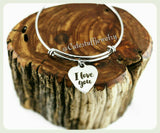 I Love You Bracelet, I Love You Bangle, Handmade I Love You Jewelry, Love Bracelet, Love Jewelry, Love Bangle Gift, Holidays, Xmas Gift