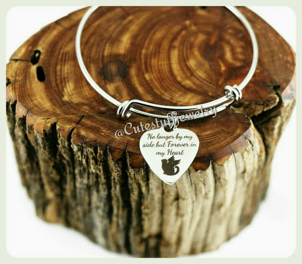 Forever in my heart bracelet, Forever in my heart bangle, No longer by my side but forever in my heart, Handmade Cat memorial jewelry Memory