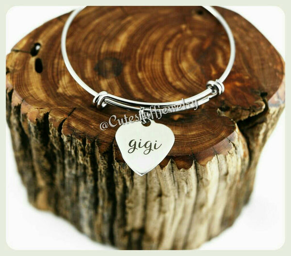 Gigi Heart bracelet, Gigi Bangle, Handmade Gigi Jewelry, Gigi Gift, Gigi Christmas, Grandmother bracelet, Family Jewelry, Grandma bracelet