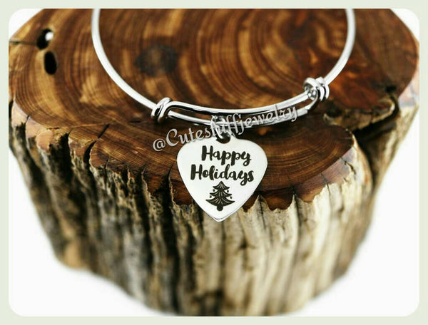 Happy Holidays Bracelet, Happy Holidays Bangle, Handmade Holidays Jewelry, Holiday Gift, Christmas Tree, Holiday Bracelet, Xmas Gift