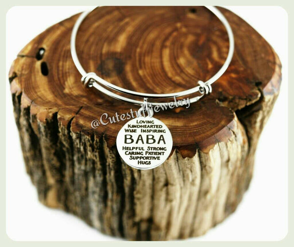Baba Bracelet, Baba Bangle, Handmade Baba Jewelry, Family Bangle Bracelet, Granny, Gran, Grandma Gift