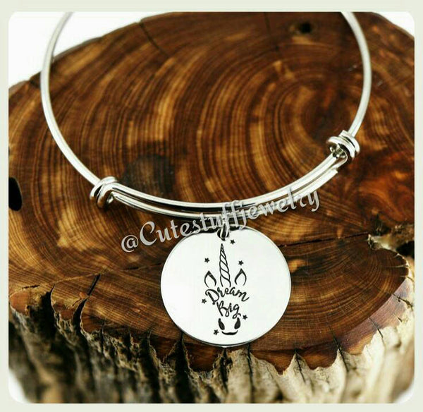 Unicorn Dream Big Bangle, Dream Big Bracelet, Unicorn Bracelet, Handmade Unicorn Jewelry, Unicorn Gift, Magical Unicorn, Believe in Unicorns