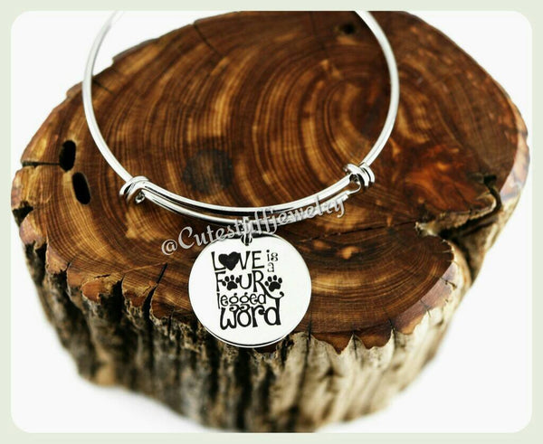 Pet Love Bracelet, Love is a four legged word Bangle, Handmade Pet Jewelry, Dog Bracelet, Cat Bracelet, Rescue Pet Lover Gift, Puppy, Kitten
