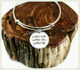 Positive Mind Bracelet, Positive Vibes Bracelet, Positive Life Bracelet, Handmade Inspirational Jewelry, Be Positive Gift, Good Vibes Bangle
