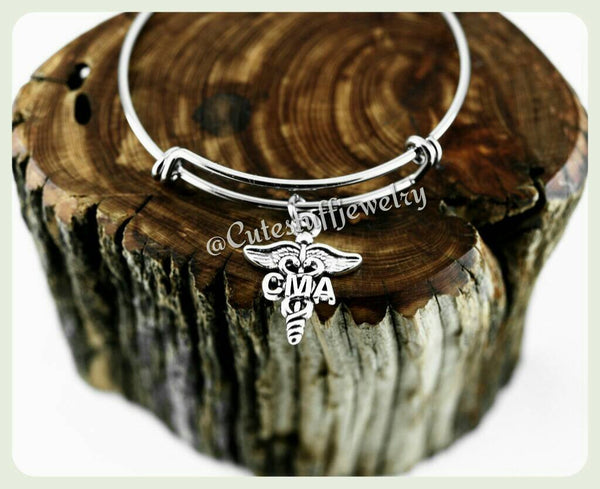 Certified Medical Assistant Bracelet, CMA Bangle, CMA Bracelet, Certified Medical Assistant Bangle, Handmade Medical Assistant Jewelry